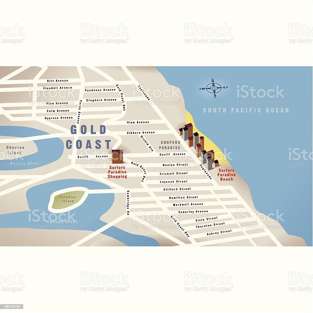 Gold Coast, Qld, Australia Map vector art illustration
