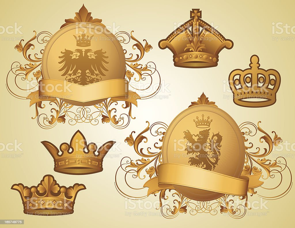 Gold Coats of Arms royalty-free stock vector art
