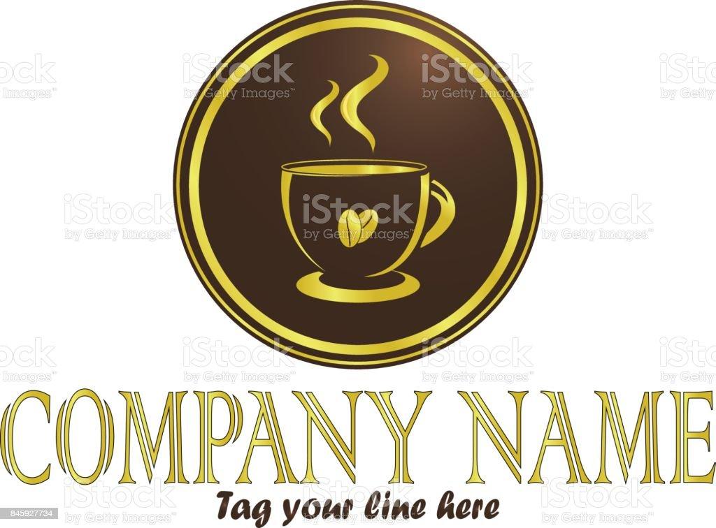 Gold coffee vector art illustration