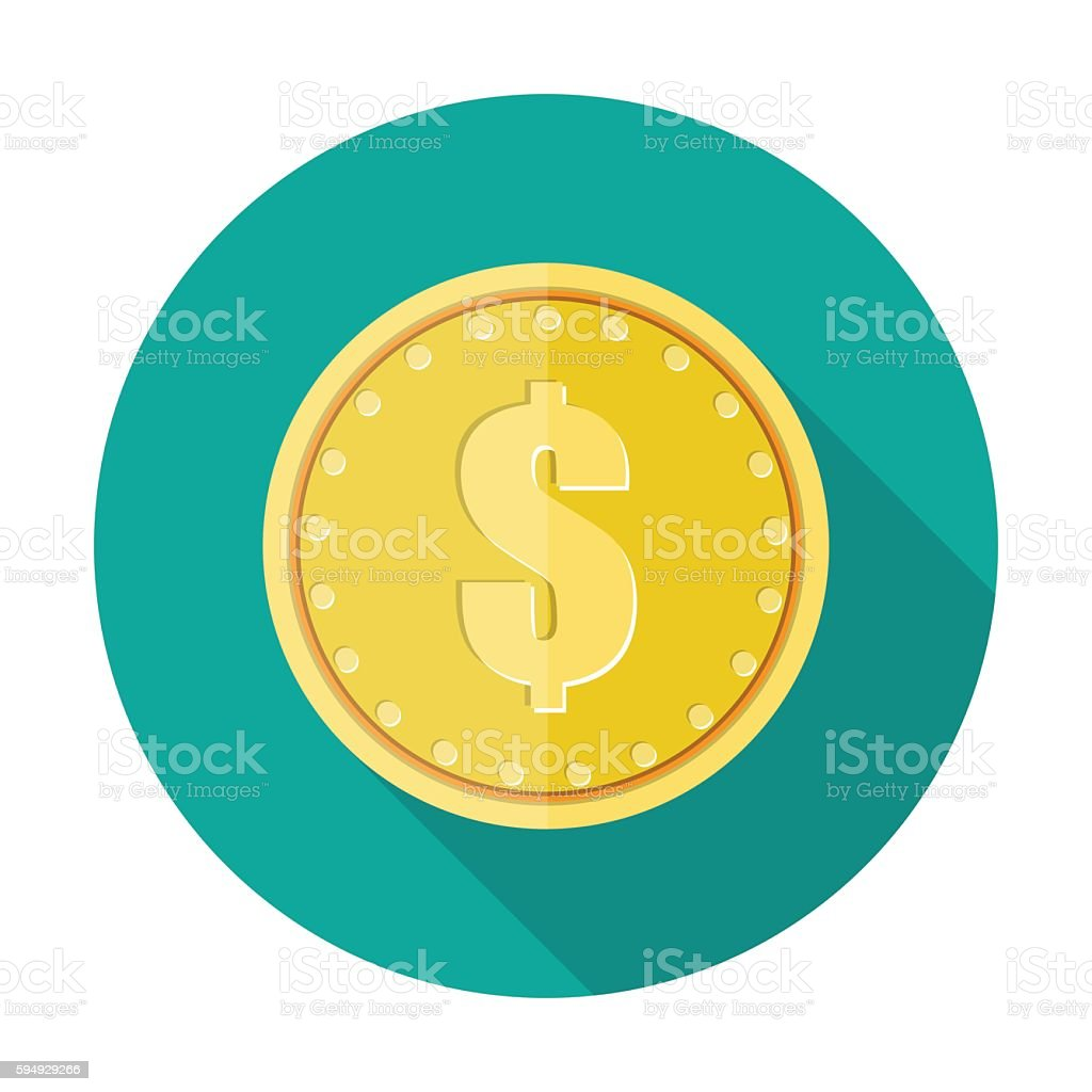 Gold coin icon with dollar currency symbol. vector art illustration