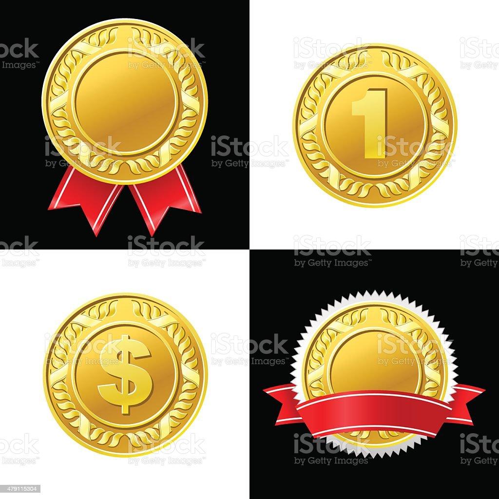 Gold Coin Medal Vector Icon vector art illustration