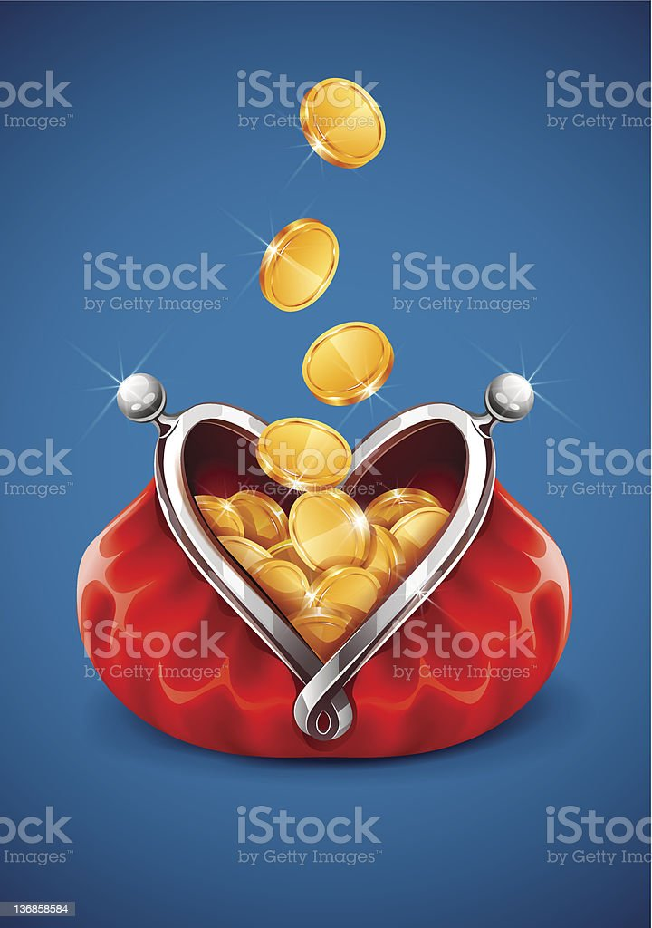 Gold coin money dropping in open purse royalty-free stock vector art