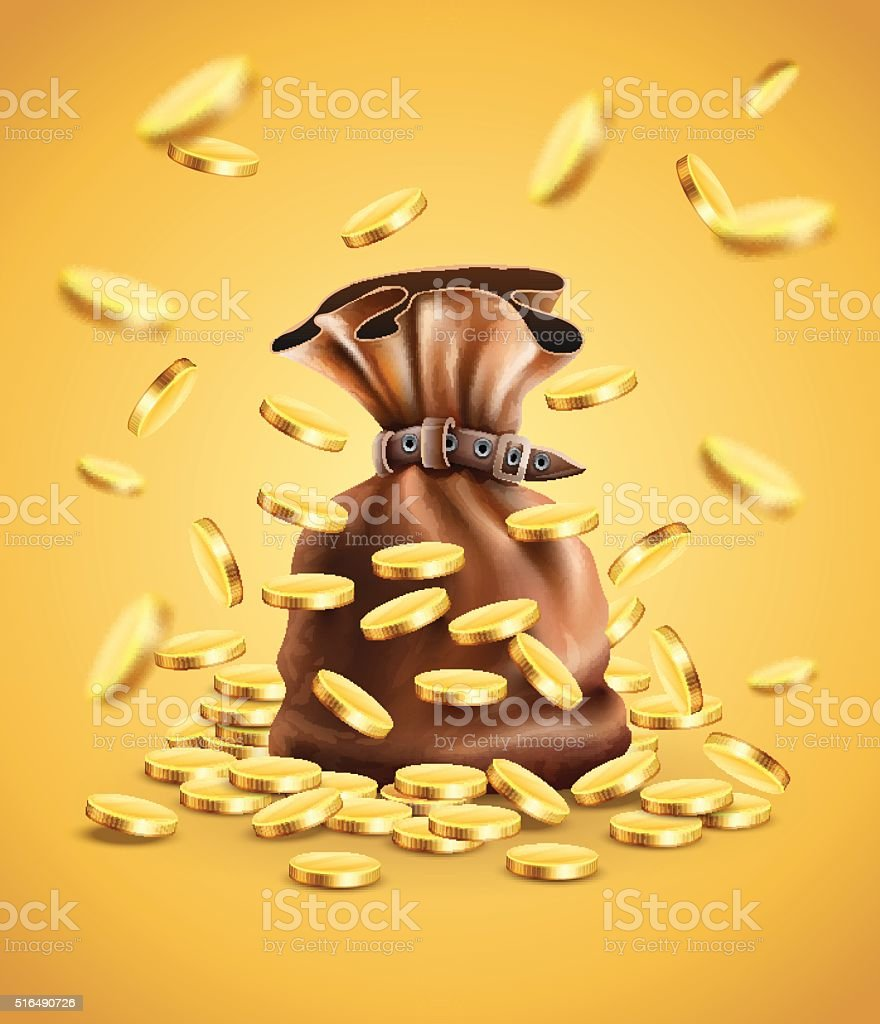 Gold coins falling down and full sack vector art illustration