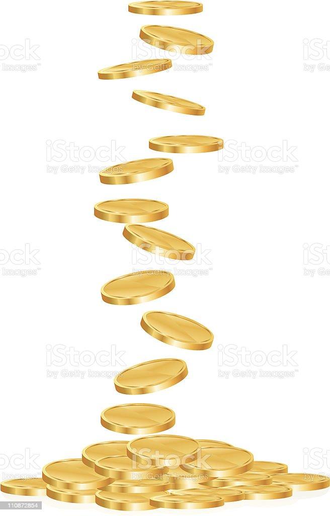 Gold Coins Falling vector art illustration