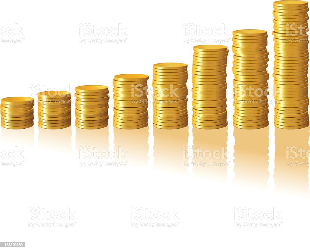 Gold Coins forming a Bar Graph royalty-free stock vector art