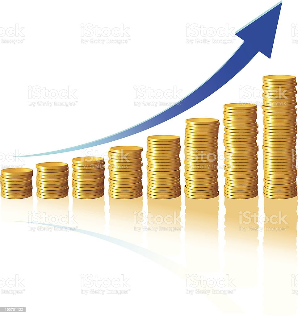 Gold coins forming a bar graph with blue arrow vector art illustration
