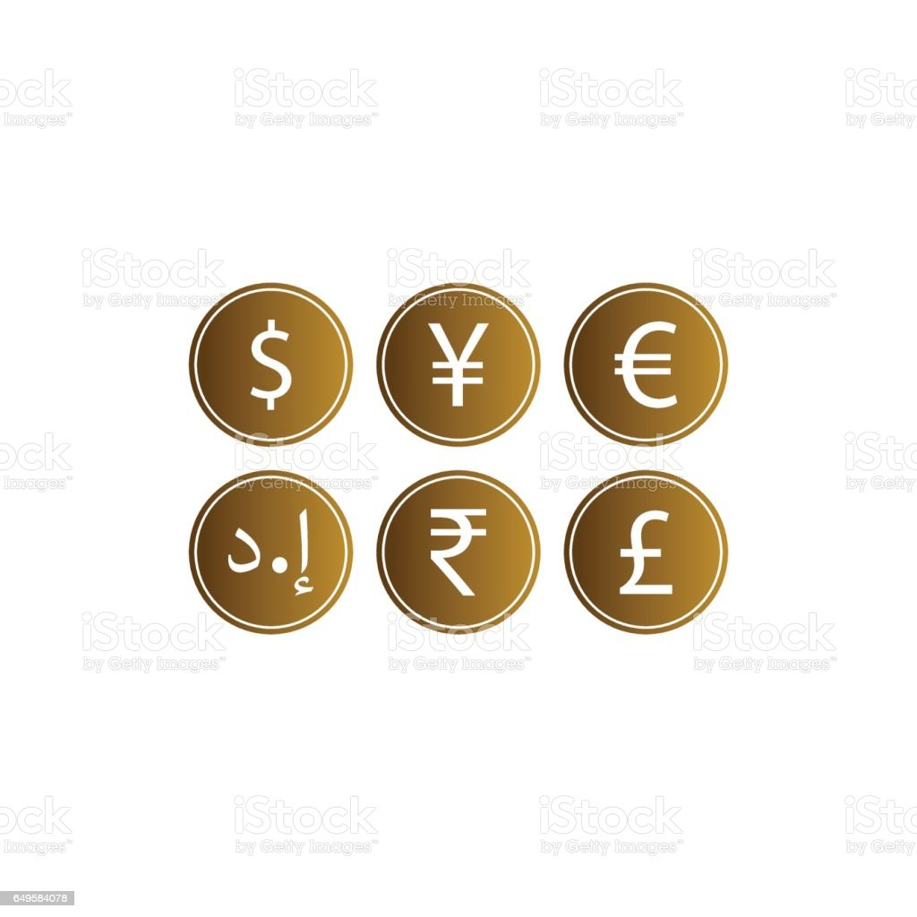 Gold coins icon set isolated on white background vector art illustration