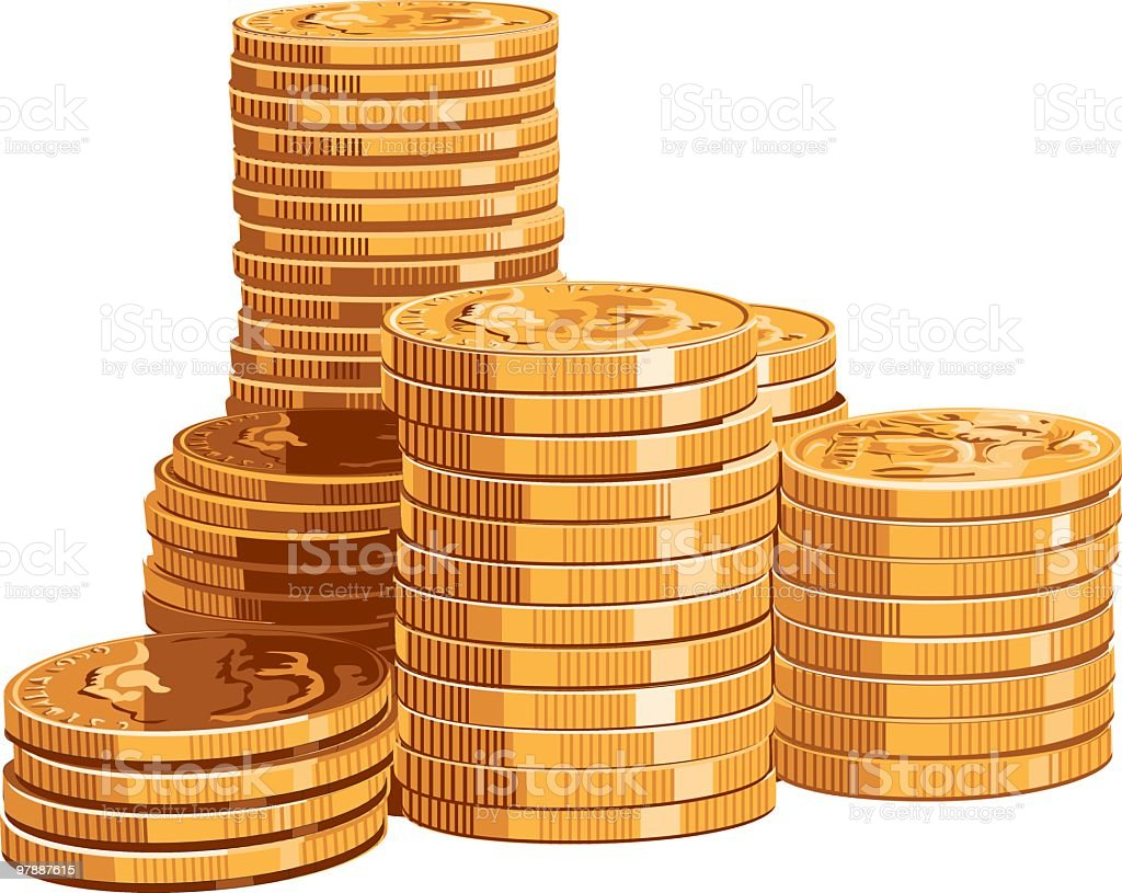 Gold Coins vector art illustration