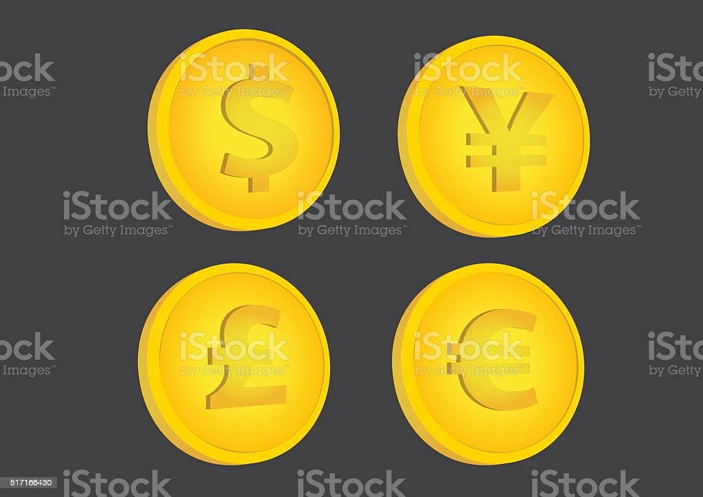 Gold Coins with Currency Symbols Vector Illustration vector art illustration
