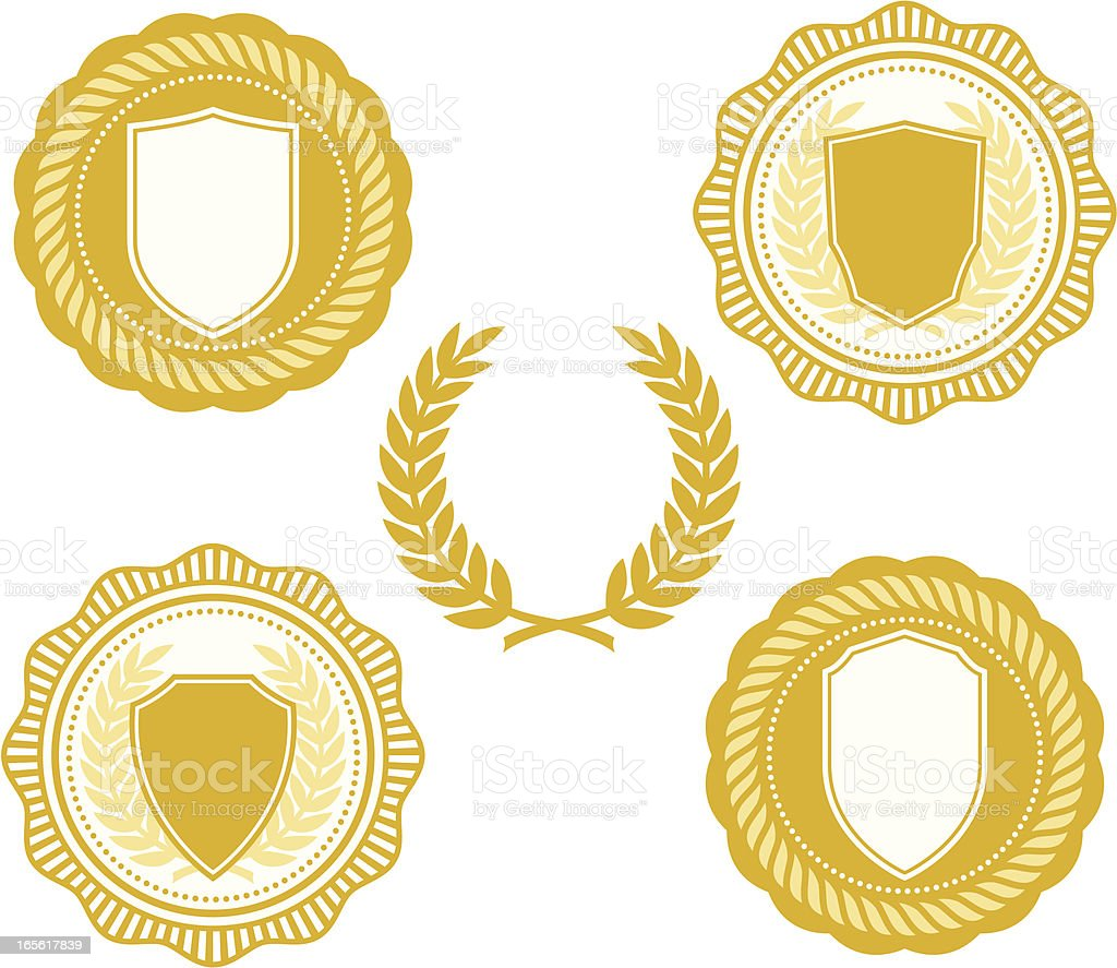 Gold collegiate seals royalty-free stock vector art