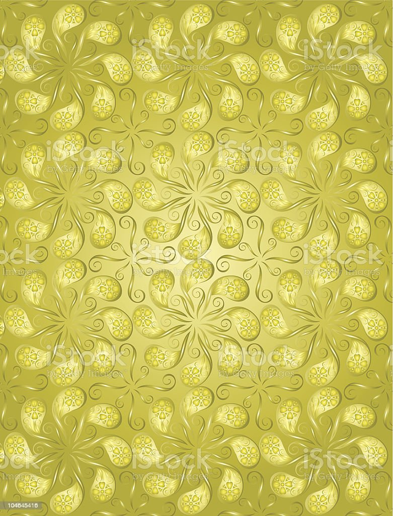 gold color floral pattern royalty-free stock vector art