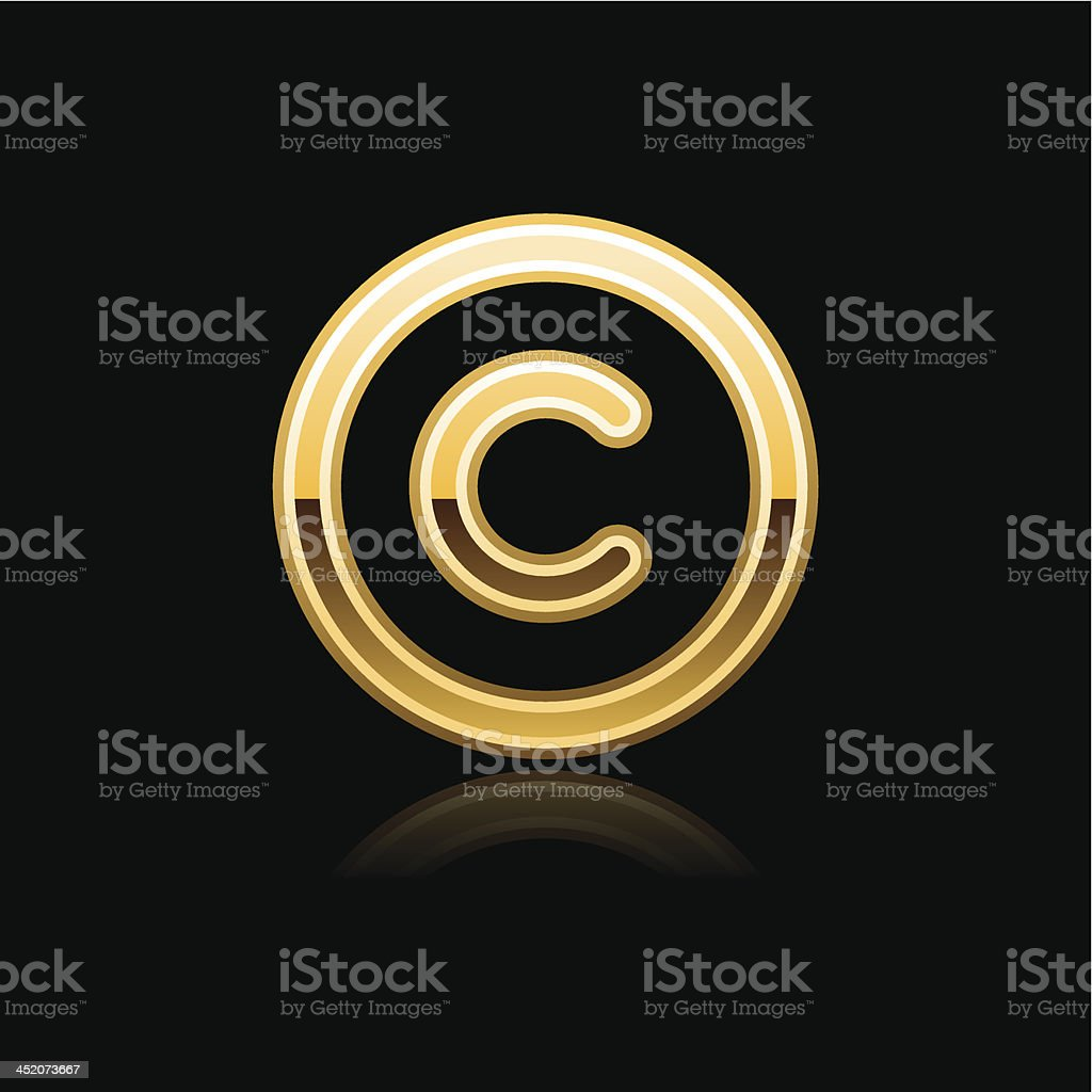 Gold copyright sign metal icon chrome pictogram web internet button vector art illustration