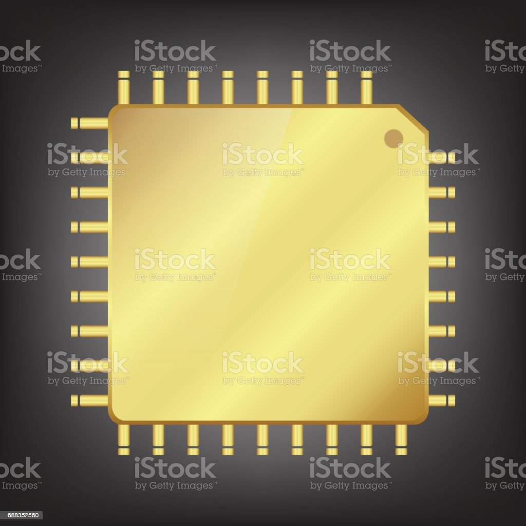 Gold CPU (central processing unit) vector art illustration