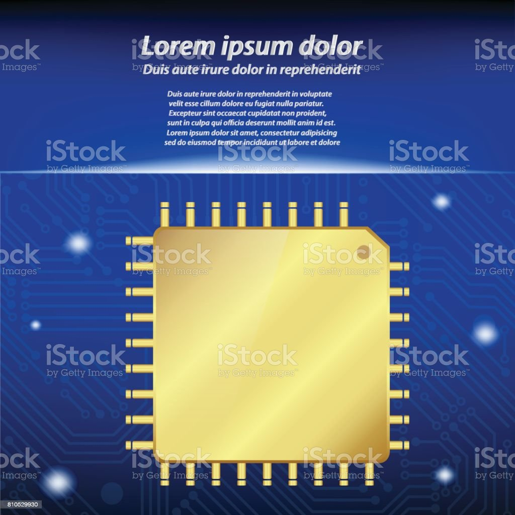 Gold CPU (central processing unit) with circuit board vector art illustration