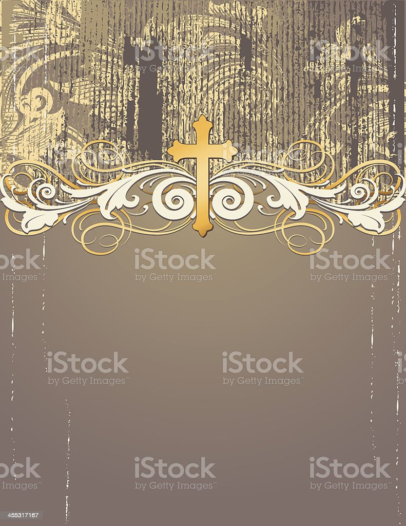 Gold Cross Grunge Page royalty-free stock vector art
