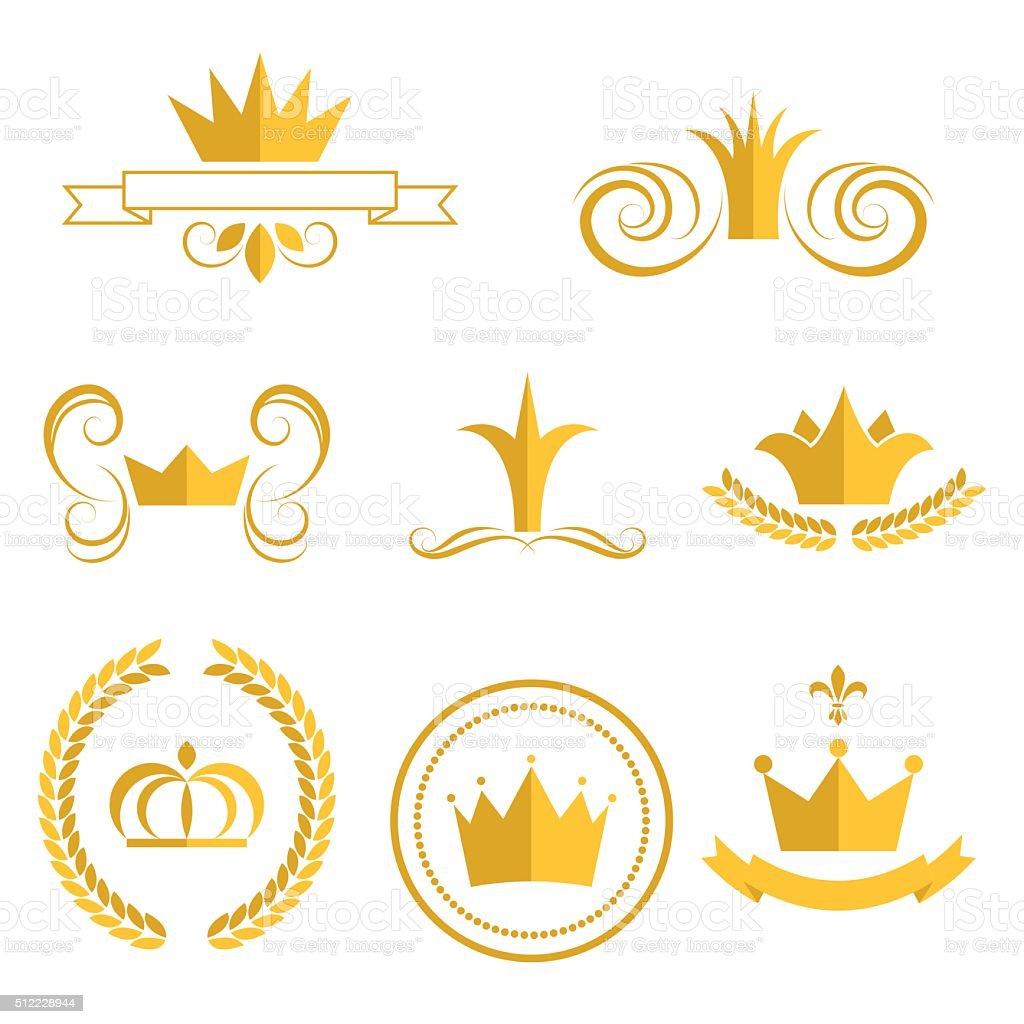 Gold crown logos and badges clip art vector set vector art illustration