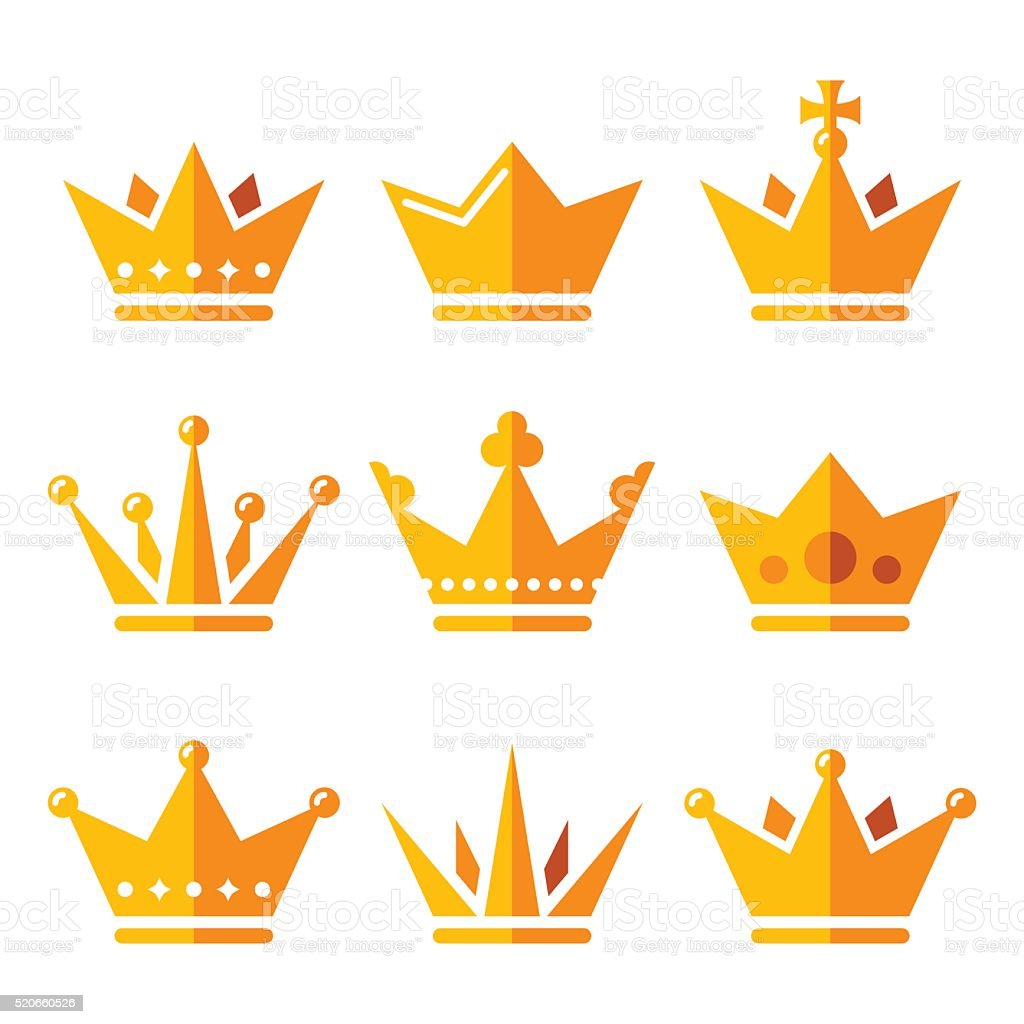 Gold crown, royal family icons set vector art illustration