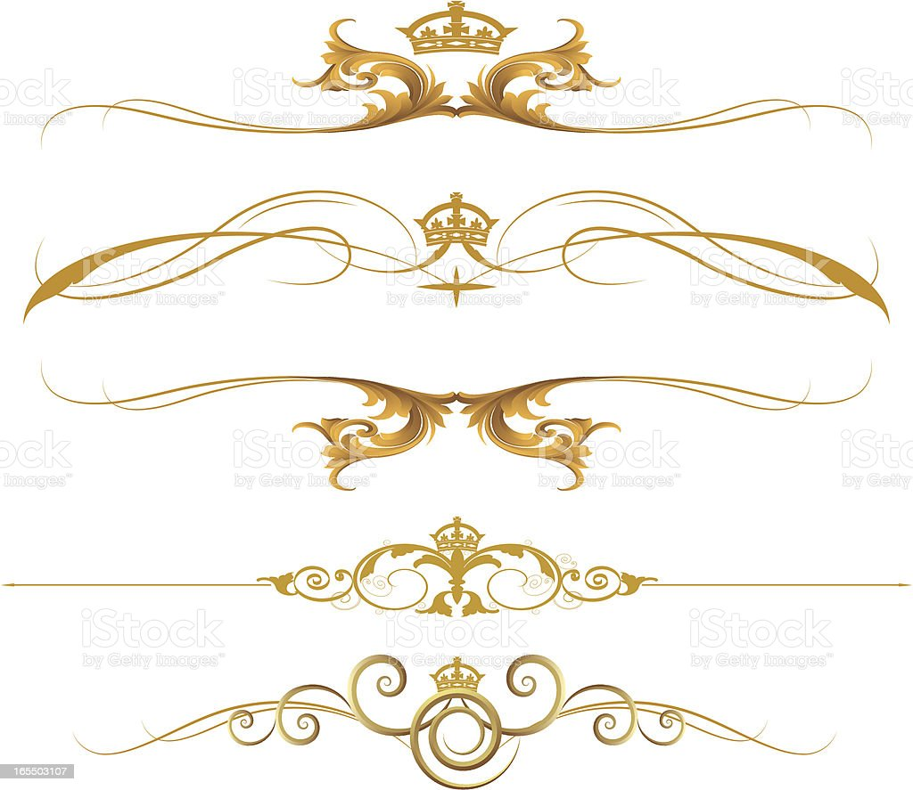 Gold Crown Rule Lines vector art illustration