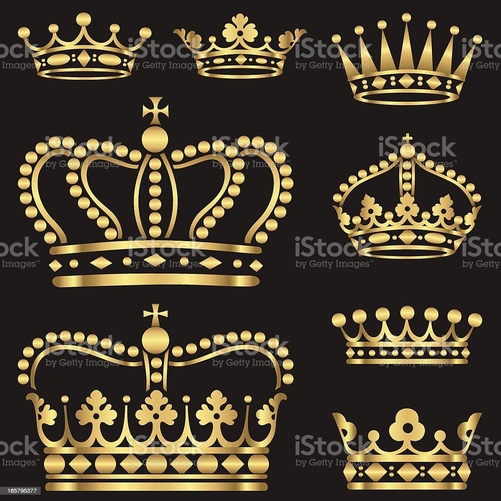 Gold Crown Set vector art illustration
