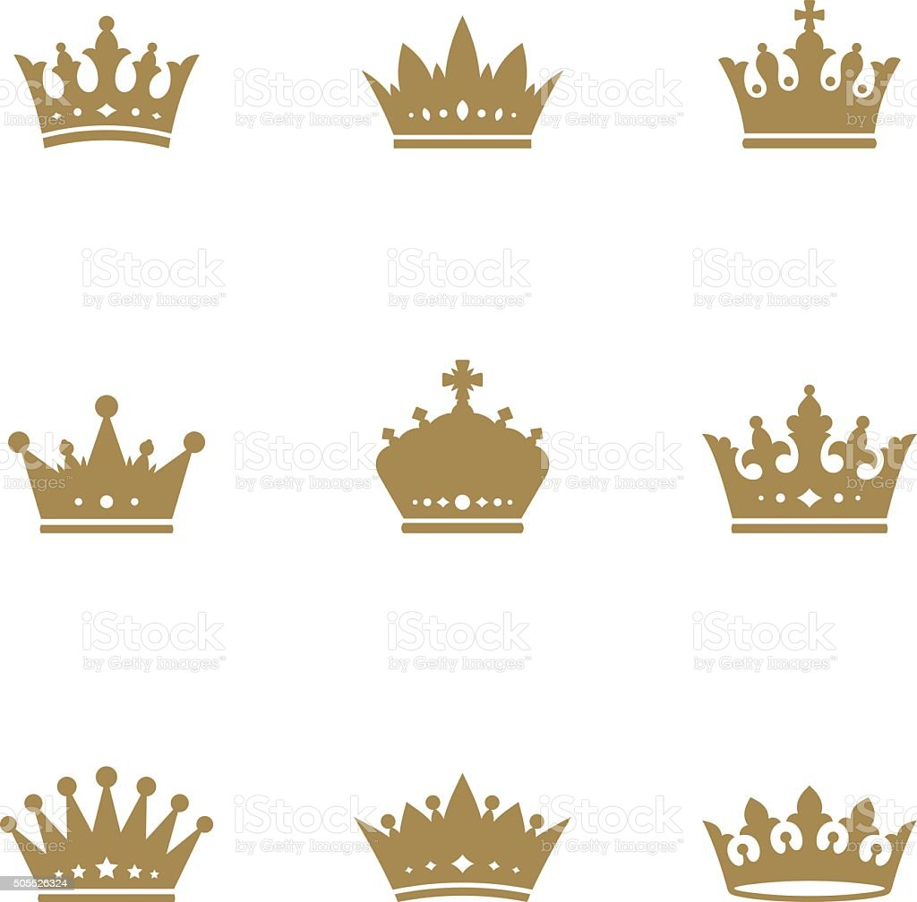Gold crown set vector art illustration