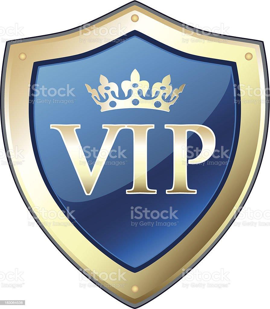 VIP Gold Crown Shield vector art illustration