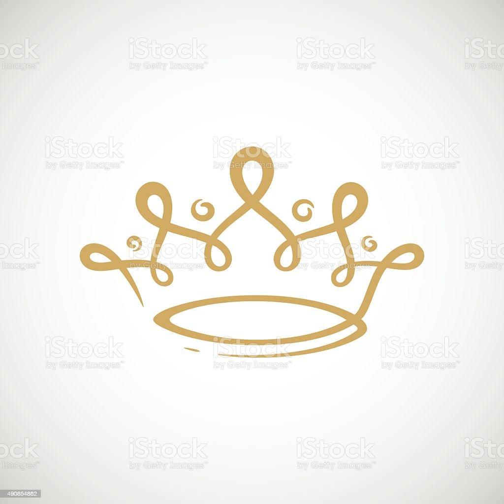 Gold crown vector art illustration
