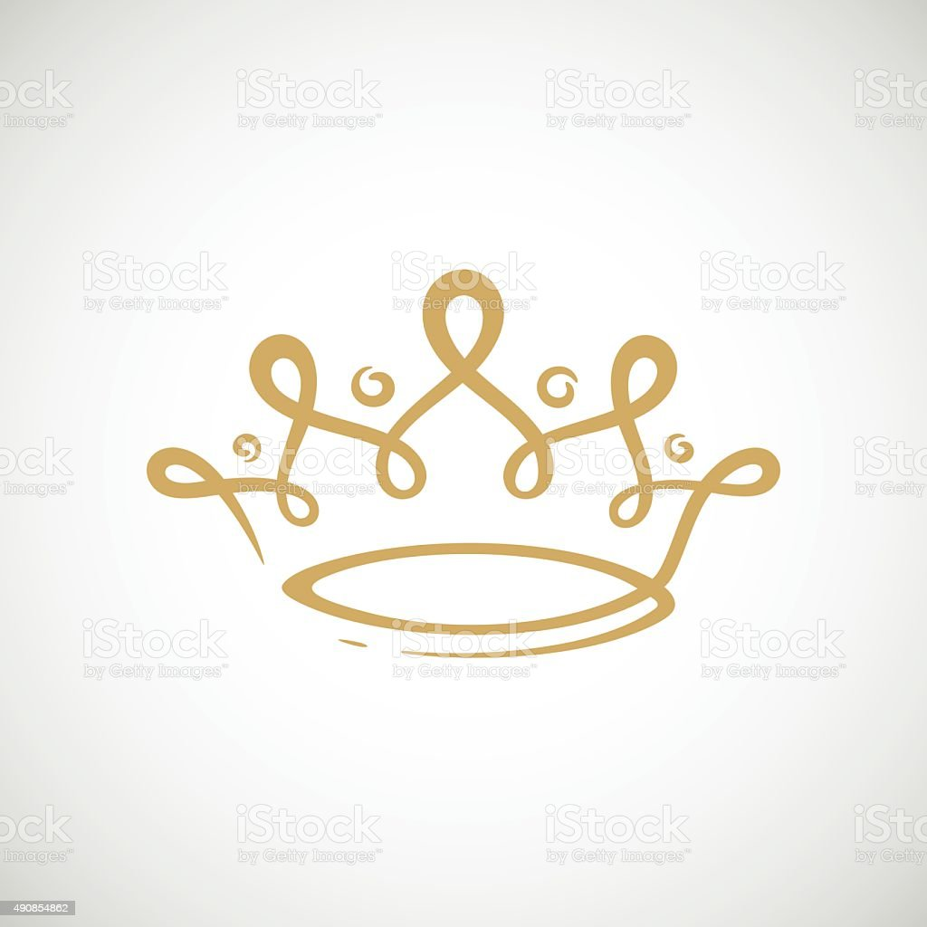 Gold crown vector art illustration