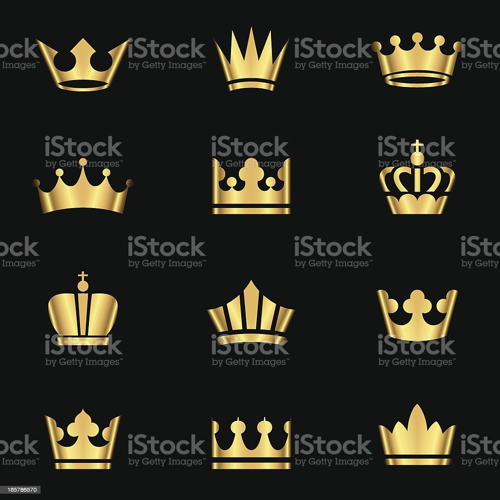 Gold Crowns Set vector art illustration