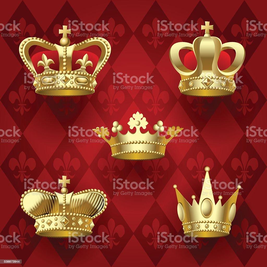 Gold crowns set vector art illustration