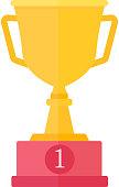 Gold cup trophy vector illustration.