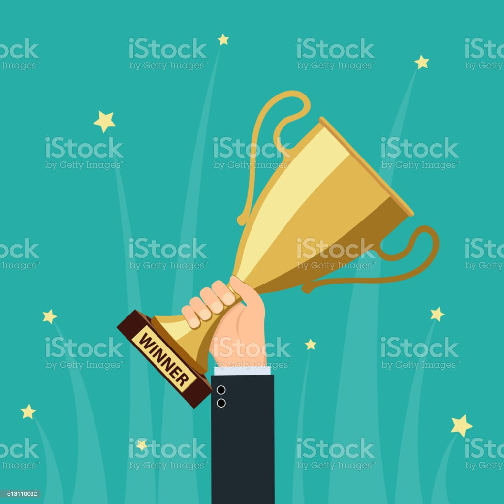 gold cup vector vector art illustration