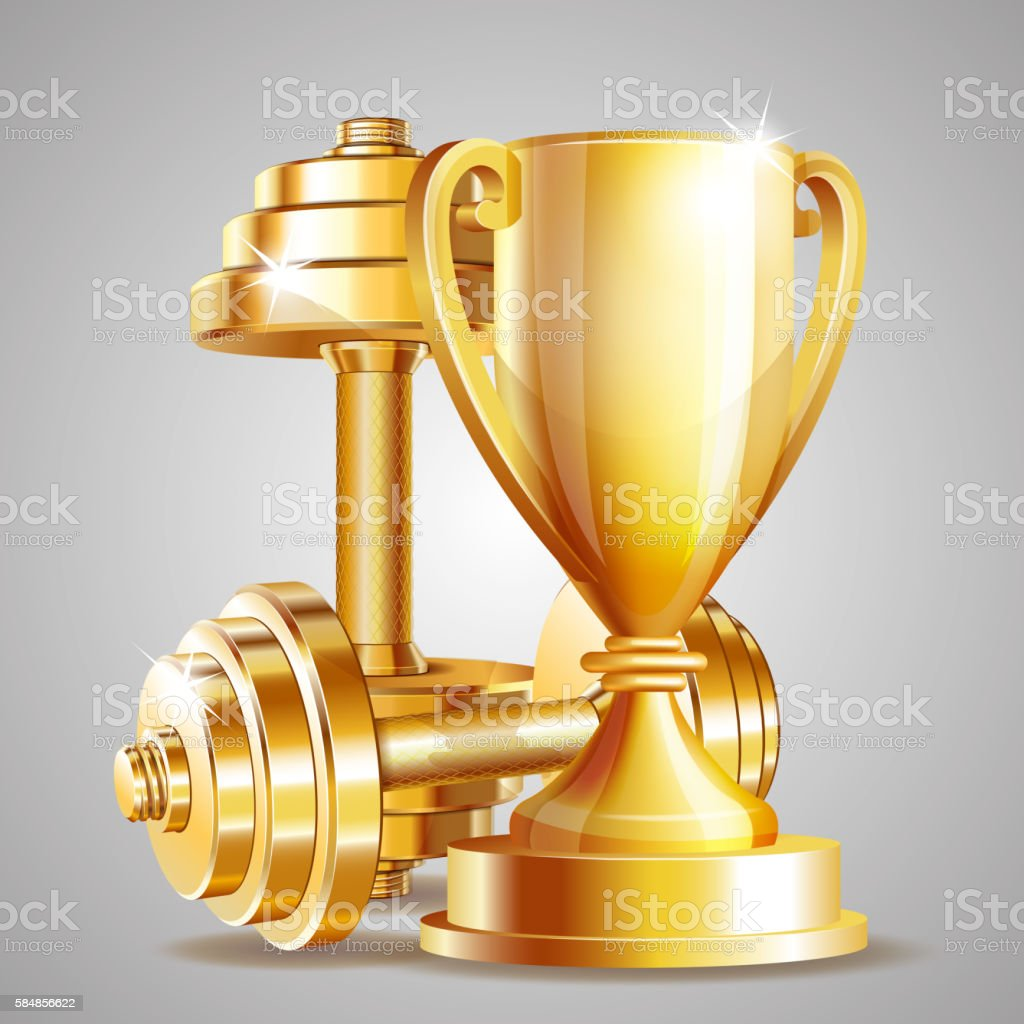 Gold cup with golden realistic dumbbells. vector art illustration