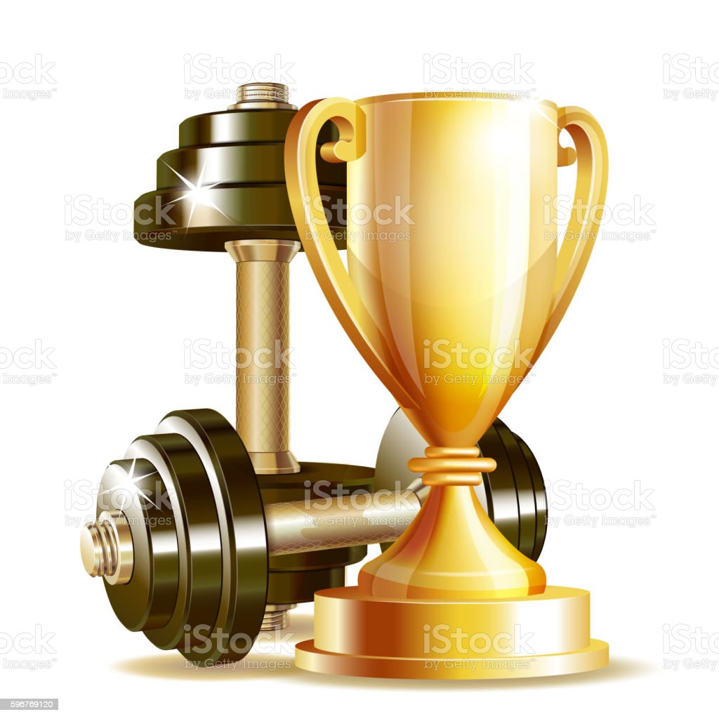 Gold cup with metal realistic dumbbells. vector art illustration