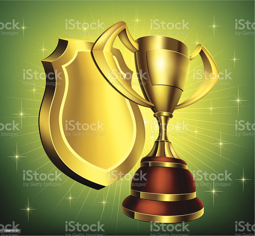 Gold Cup with Shield royalty-free stock vector art