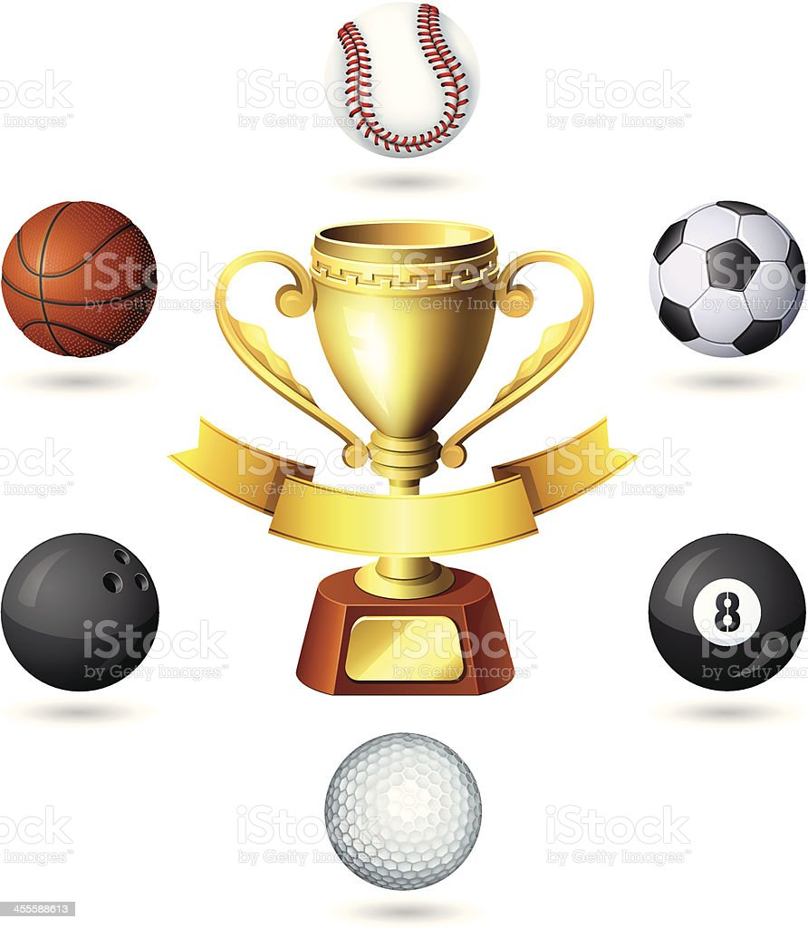 Gold cup with sport balls royalty-free stock vector art