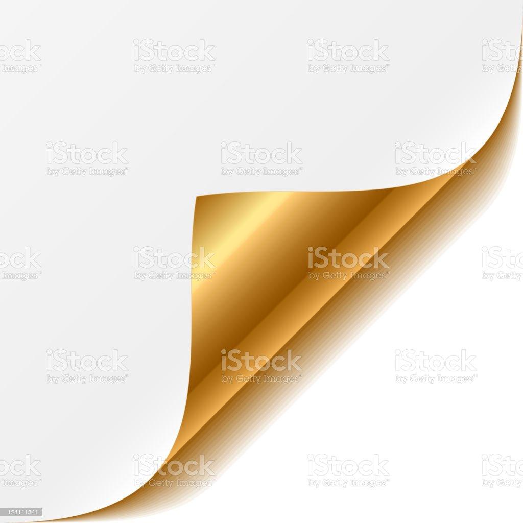 Gold curled corner vector art illustration