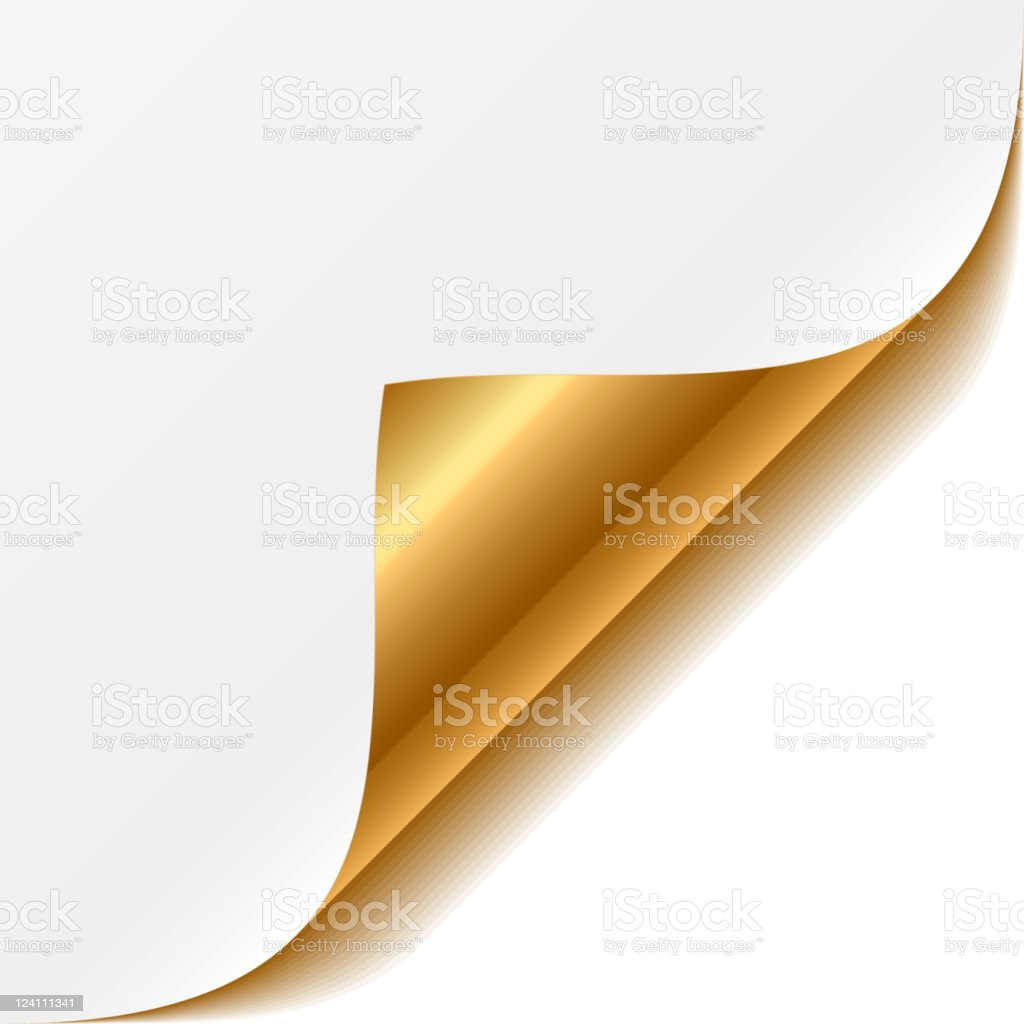 Gold curled corner vector art illustration