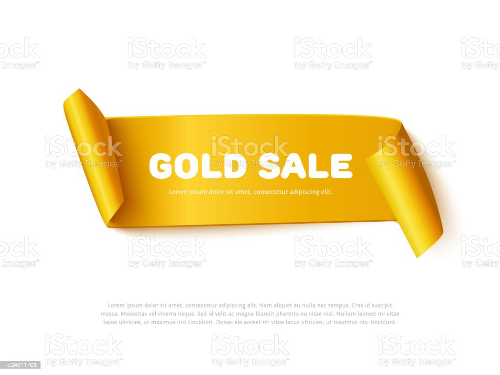 Gold curved paper ribbon banner with rolls and inscription GOLD vector art illustration