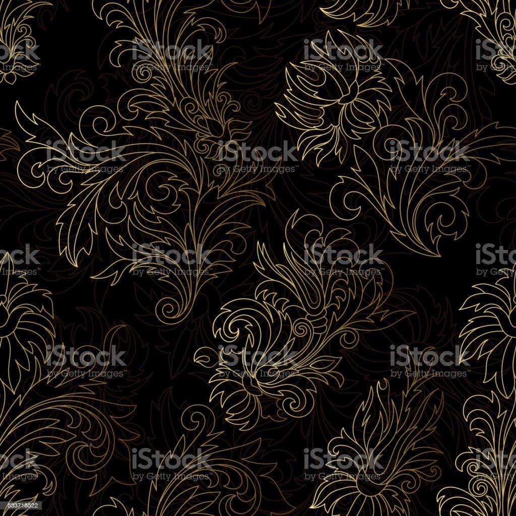 Gold damask ornaments seamless vector art illustration