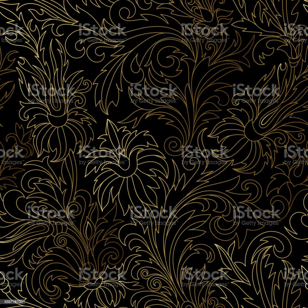 Gold damask ornaments seamless vector art illustration