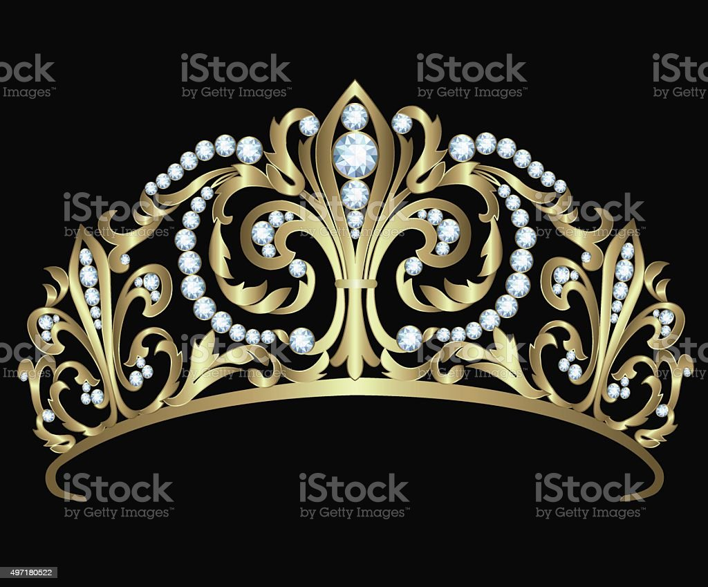 Gold diadem with diamonds vector art illustration