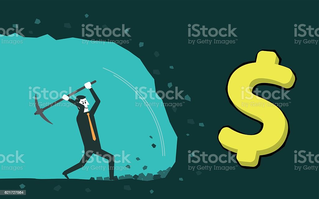 Gold digger vector art illustration