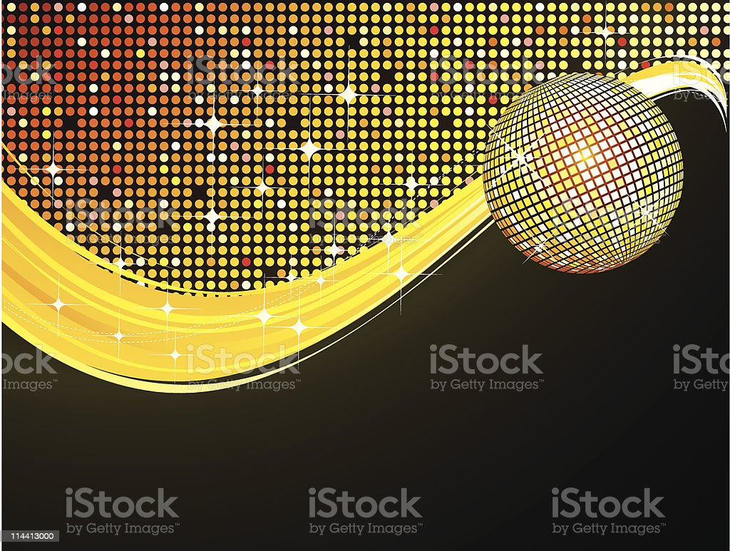 Gold disco ball background royalty-free stock vector art