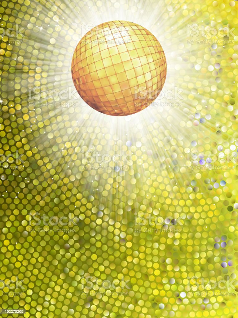 Gold disco ball on burst with mosaic detail. EPS 8 royalty-free stock vector art