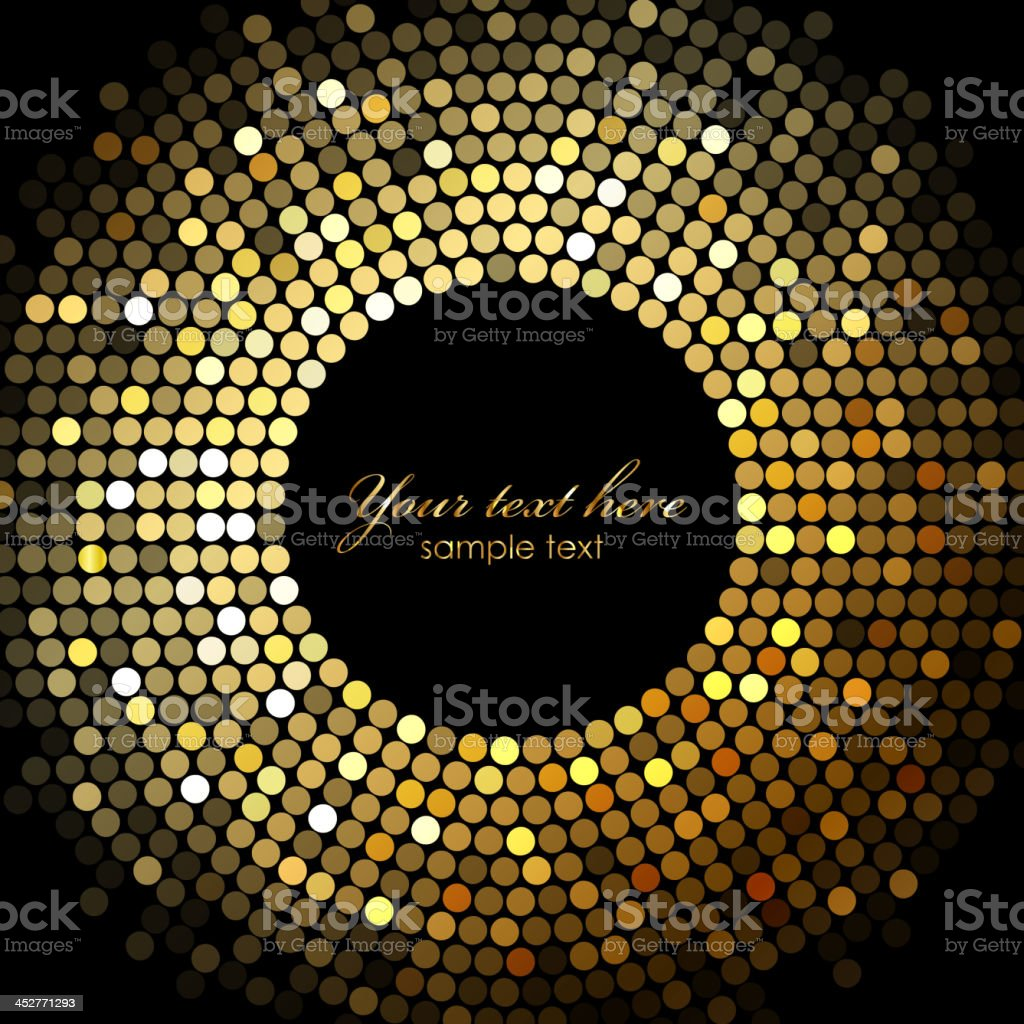 Gold disco lights vector art illustration
