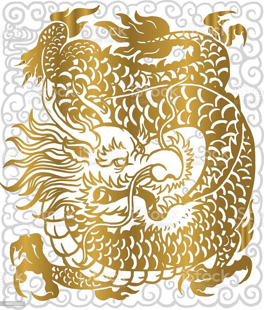 gold dragon vector art illustration