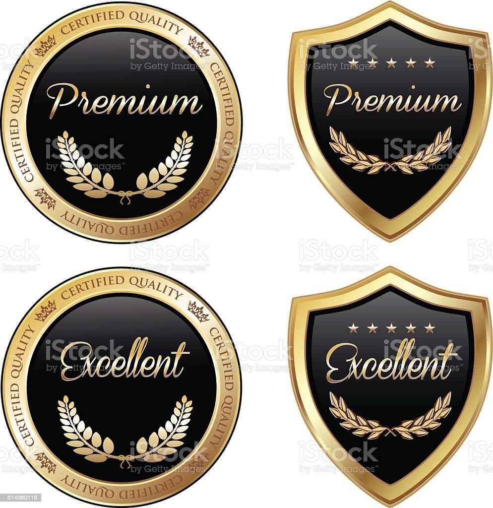 Gold Emblem Collection vector art illustration