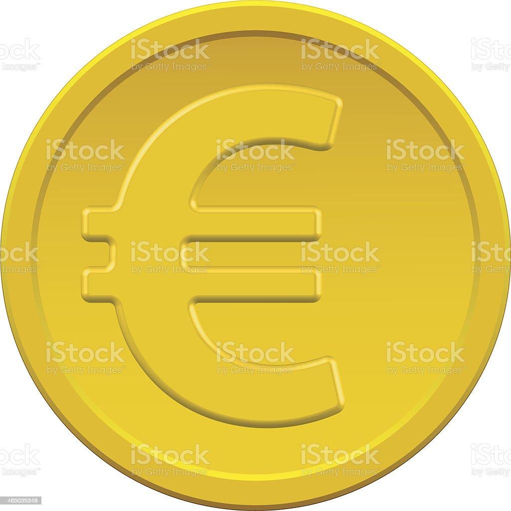 Gold euro coin vector art illustration