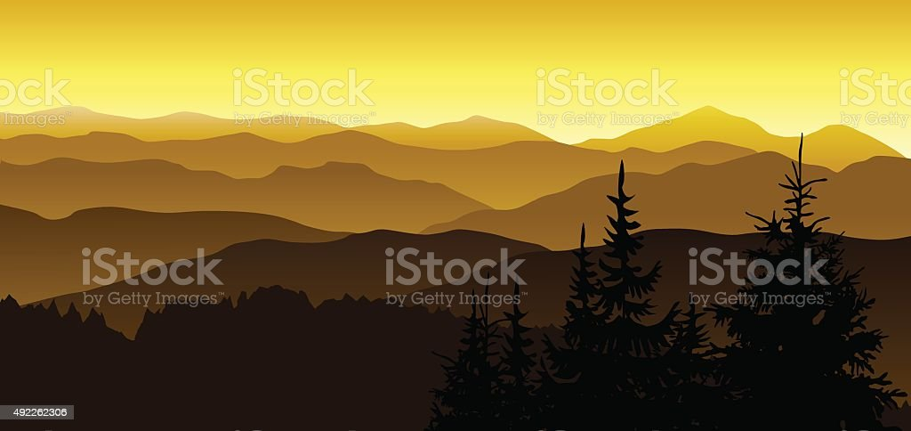 Gold evening at mountains. vector art illustration