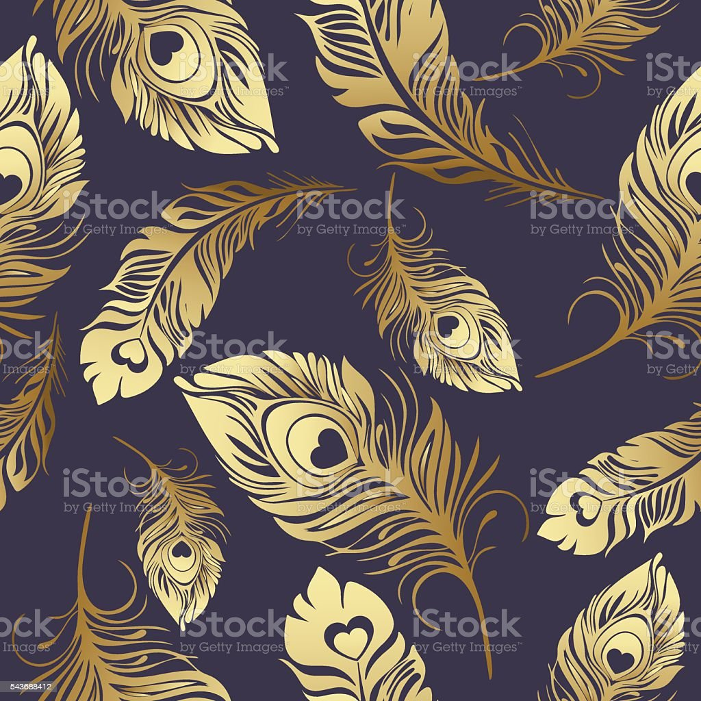 Gold feathers seamless pattern royalty-free stock vector art